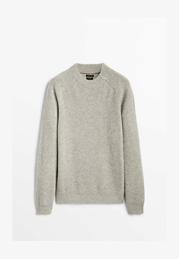 MIT GERIPPTEM - Jumper - light grey
