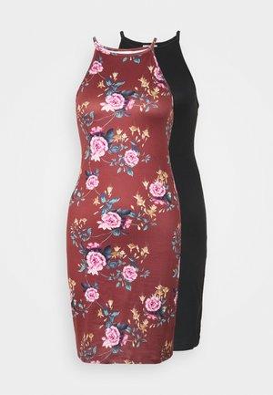 VIBE SINGLET DRESS 2 PACK - Jersey dress - black/flame scarlet pink
