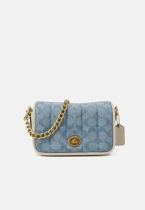 ORIGINALS SIGNATURE PUFFY QUILTED DINKY - Across body bag - light washed denim chalk
