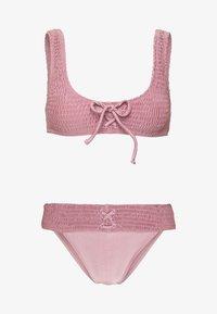 Topshop - SHIRRED FRONT CROP HI LEG - Bikini - rose - 3