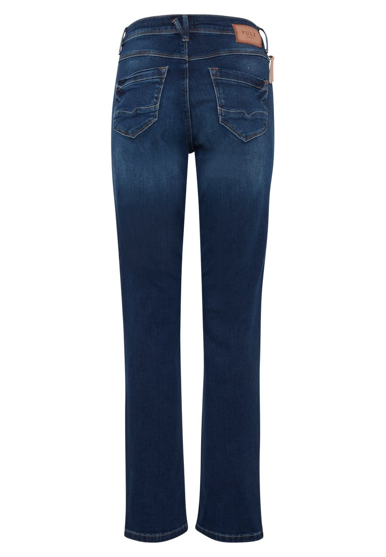 PULZ KAROLINA HIGHWAIST - Jeans Straight Leg - medium blue/blue denim uwm6w2