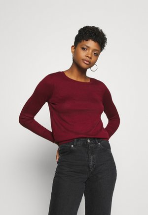 VMFELICITY LS O NECK BOW BLOUSE - Sweter - cabernet
