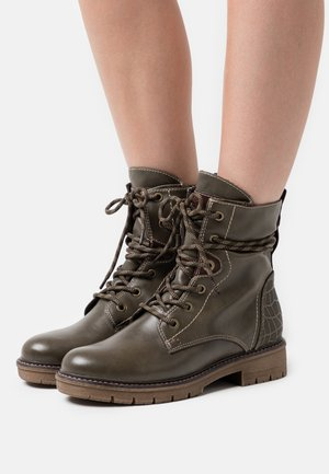 BOOTS - Lace-up ankle boots - olive