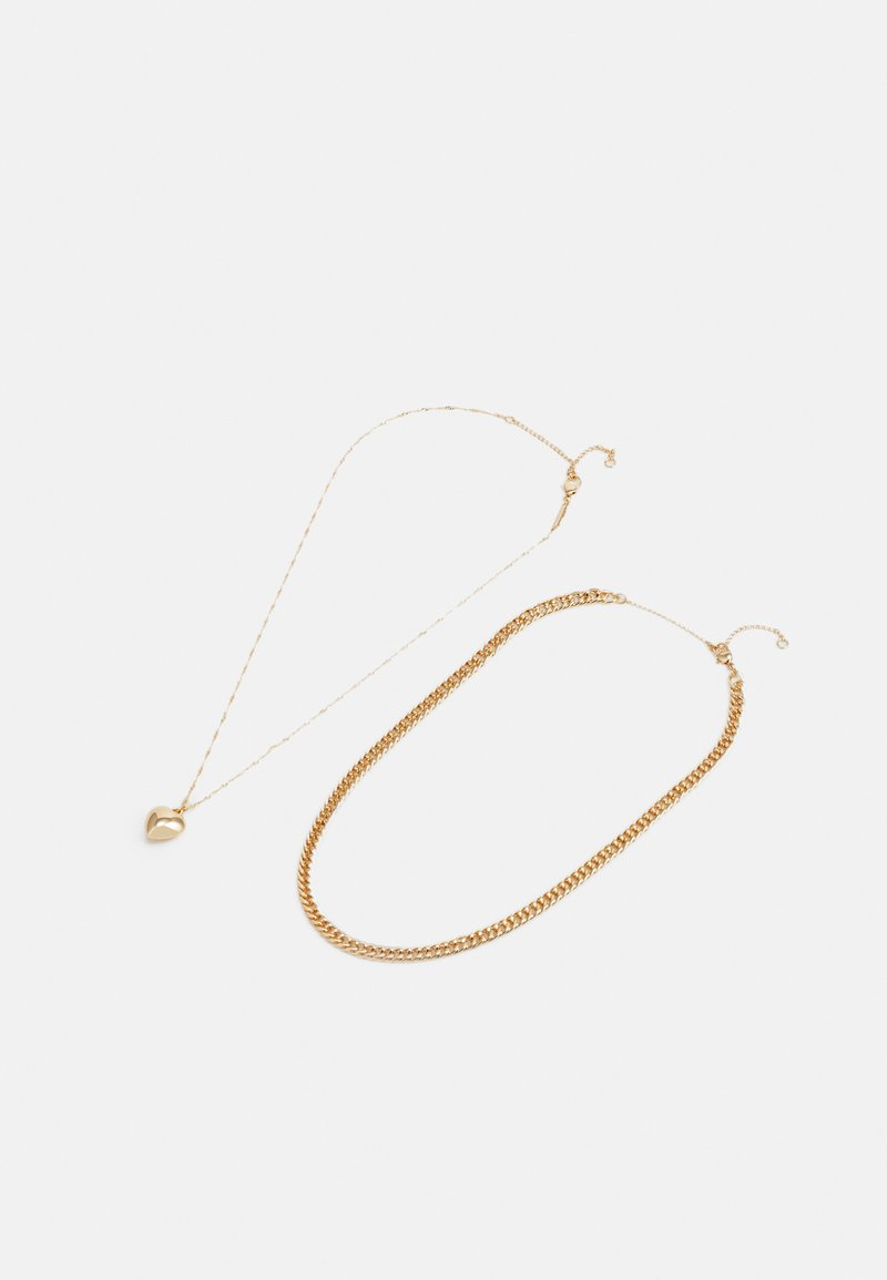 Topshop - HEART CHAIN MULTIROW 2 PACK - Necklace - gold-coloured