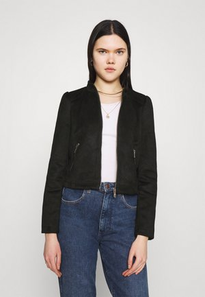 ONLSHELBY CROP BONDED JACKET  - Faux leather jacket - black