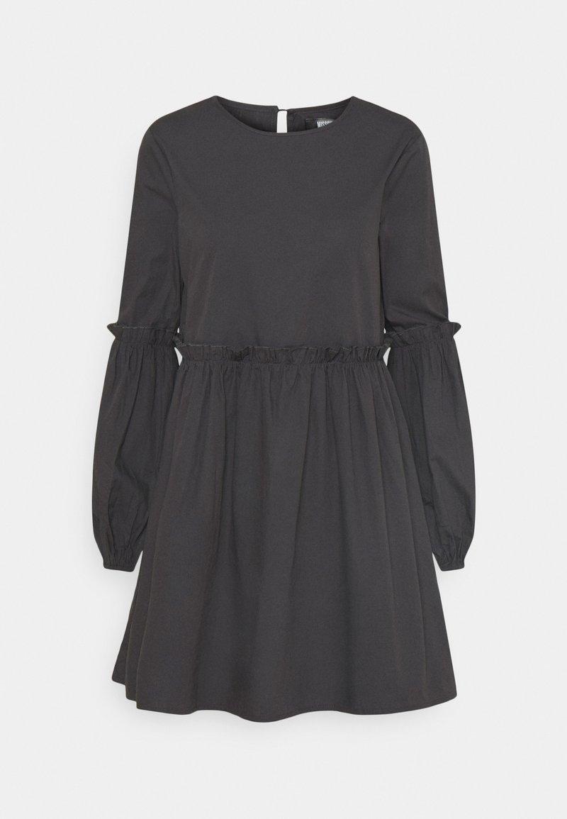 Missguided - PUFF SLEEVE FRILL DETAIL SMOCK DRESS - Denní šaty - navy