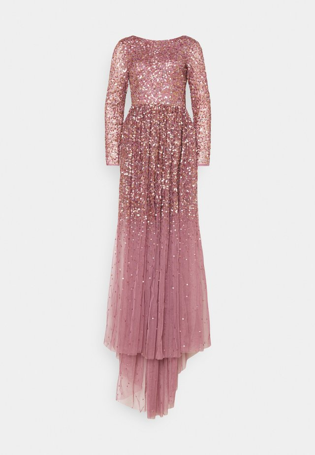 ALL OVER MAXI DRESS WITH PLUNGE BACK - Occasion wear - lotus pink
