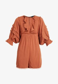 Lost Ink - PLAYSUIT WITH FRILL DETAIL - Overal - rust - 4