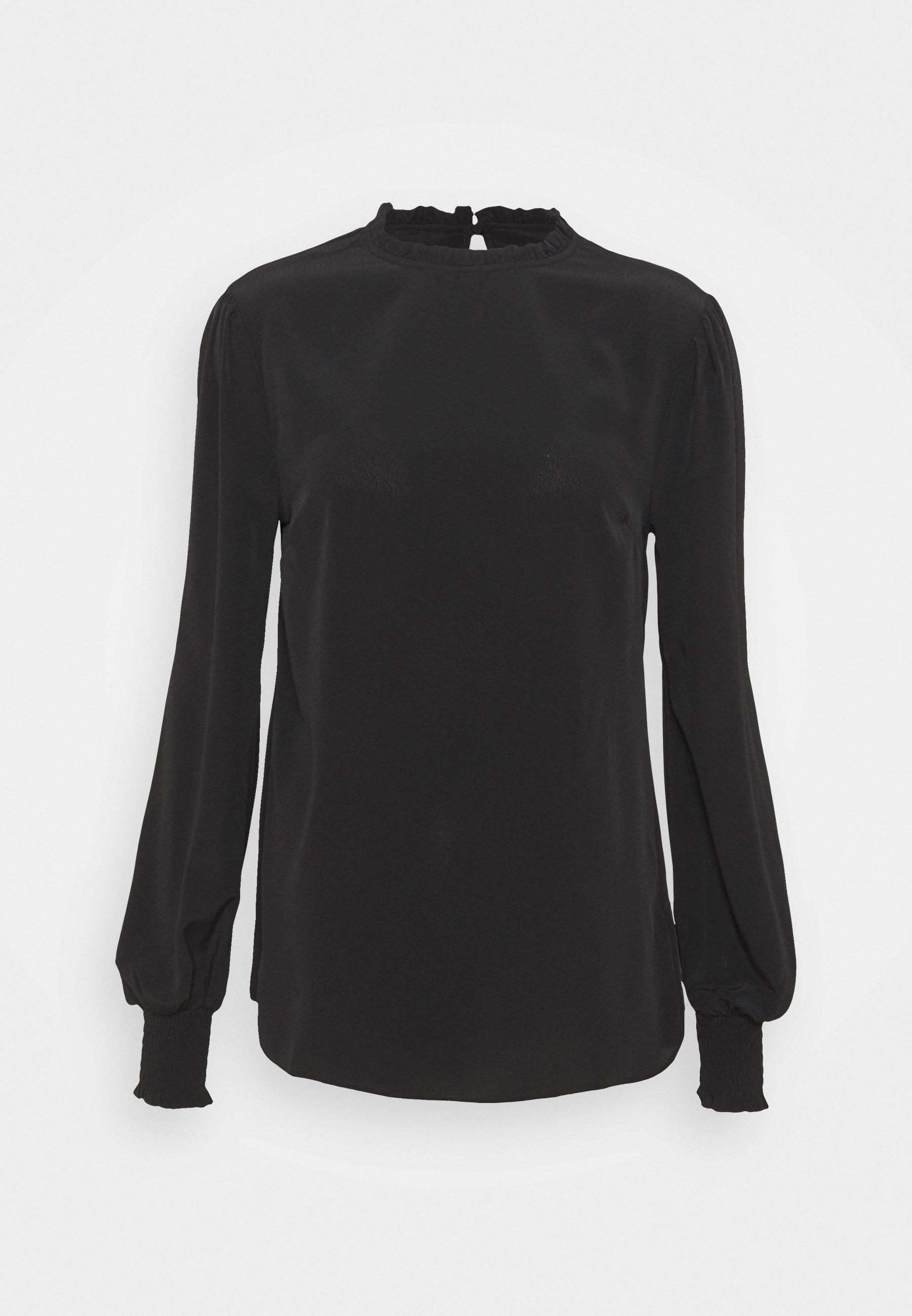 Women PLAIN SHIRRED CUFF LONG SLEEVE TOP - Long sleeved top
