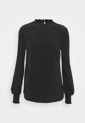 PLAIN SHIRRED CUFF LONG SLEEVE TOP - Pitkähihainen paita - black
