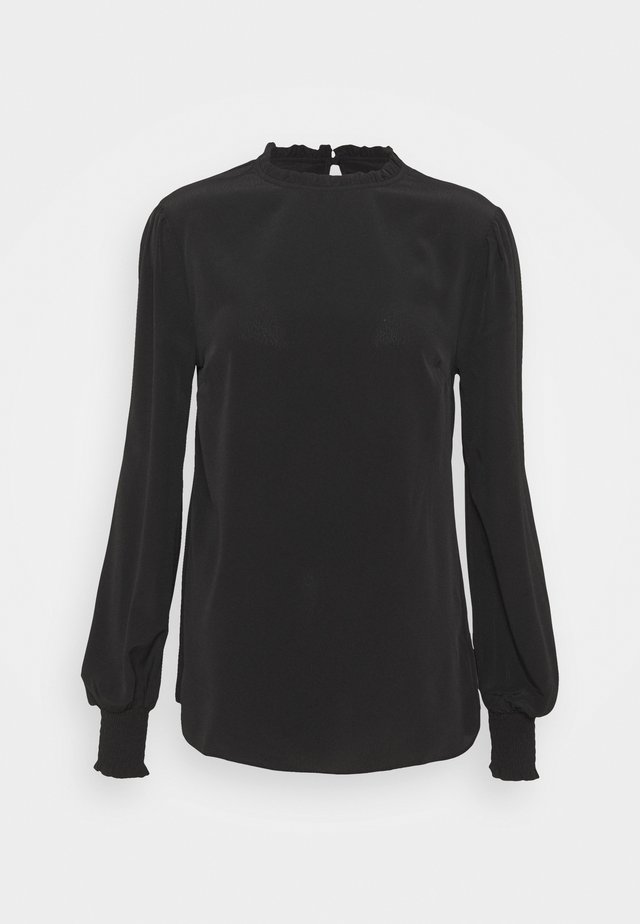 PLAIN SHIRRED CUFF LONG SLEEVE TOP - Camiseta de manga larga - black