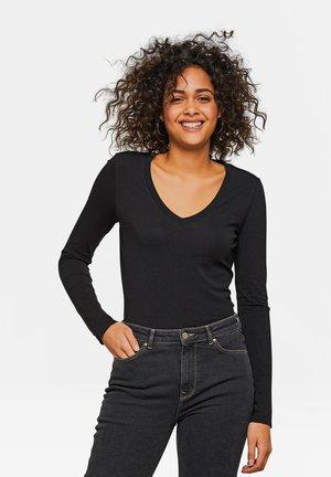 WE FASHION DAMENSHIRT AUS BIO-BAUMWOLLE - Long sleeved top - black
