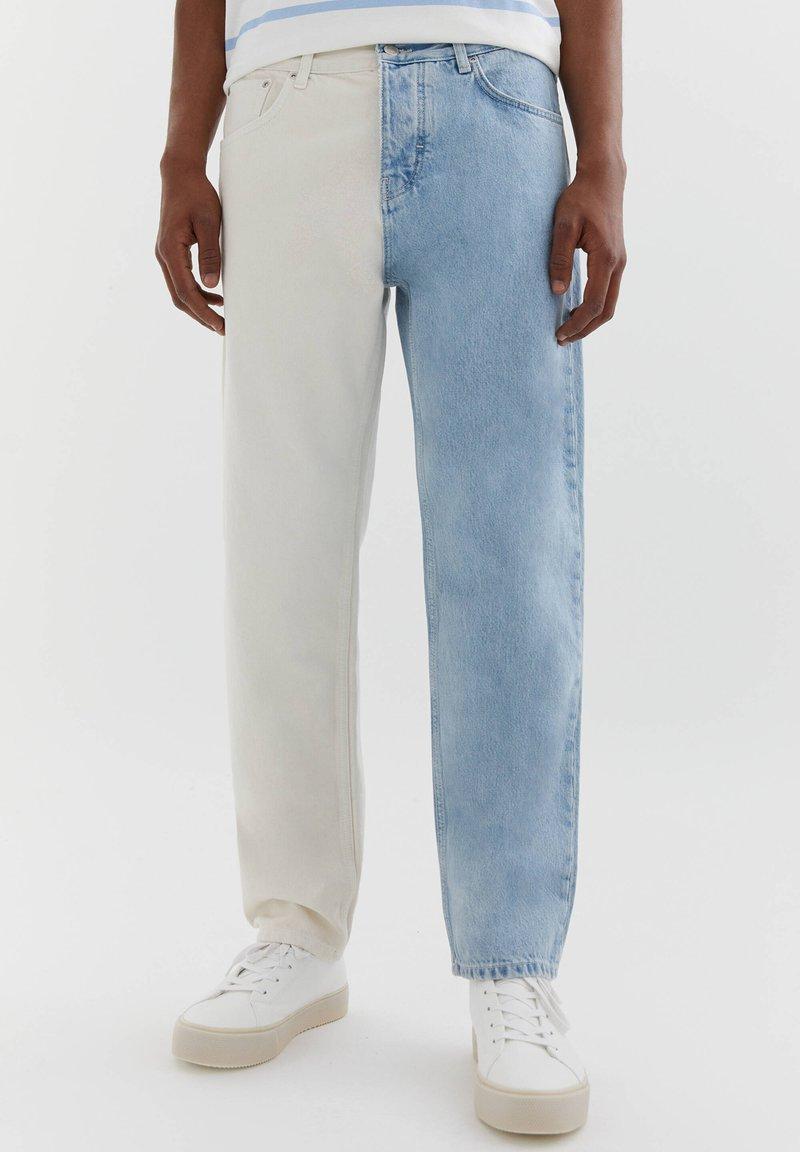 PULL&BEAR - MIT COLOUR BLOCK - Straight leg -farkut - white