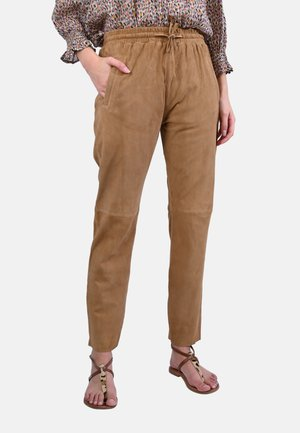 GIFT - Leather trousers - camel