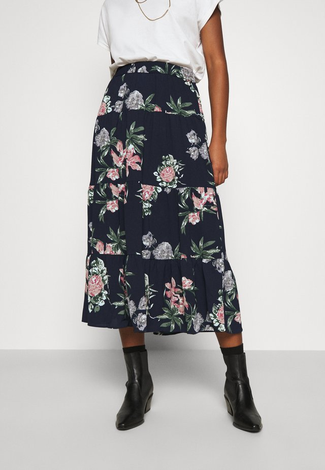 VMSAGA SKIRT - Maxi skirt - navy blazer/sita