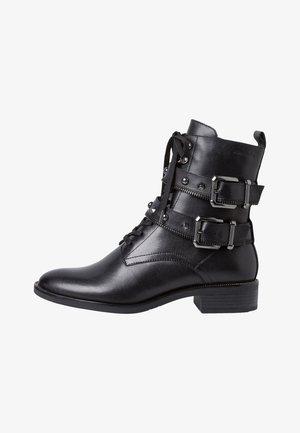 Cowboy/biker ankle boot - black leather
