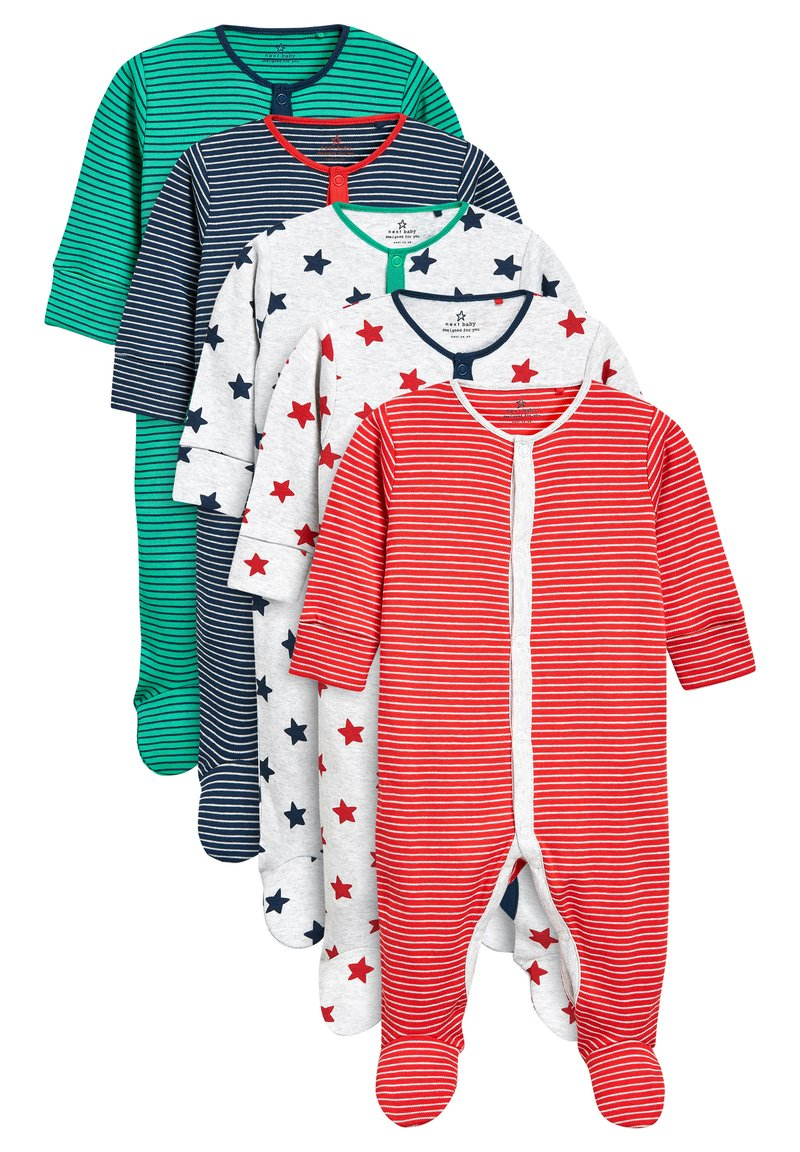 Next - STRIPE AND STAR SLEEPSUITS FIVE PACK (0MTHS-2YRS) - Pyžamo - green