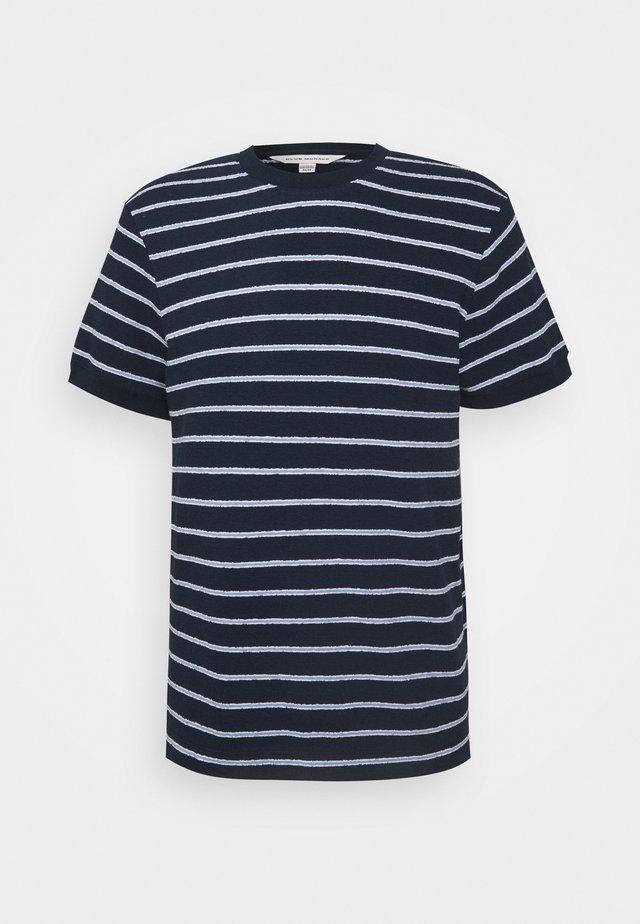 TEXTURAL STRIPE - Print T-shirt - navy