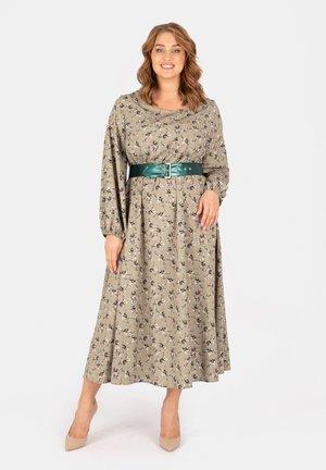 MIT GÜRTEL UND BLUMENPRINT - Maxi dress - grün