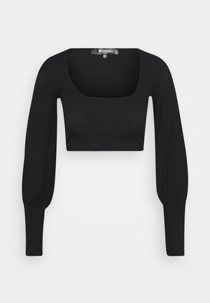 LONG SLEEVE CROP  - Long sleeved top - black