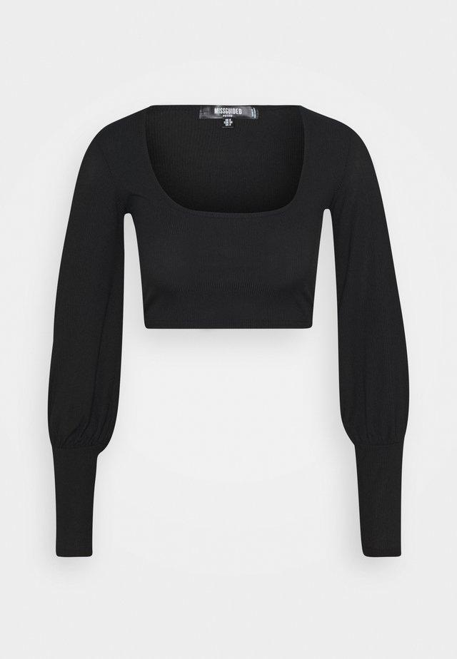 LONG SLEEVE CROP  - T-shirt à manches longues - black