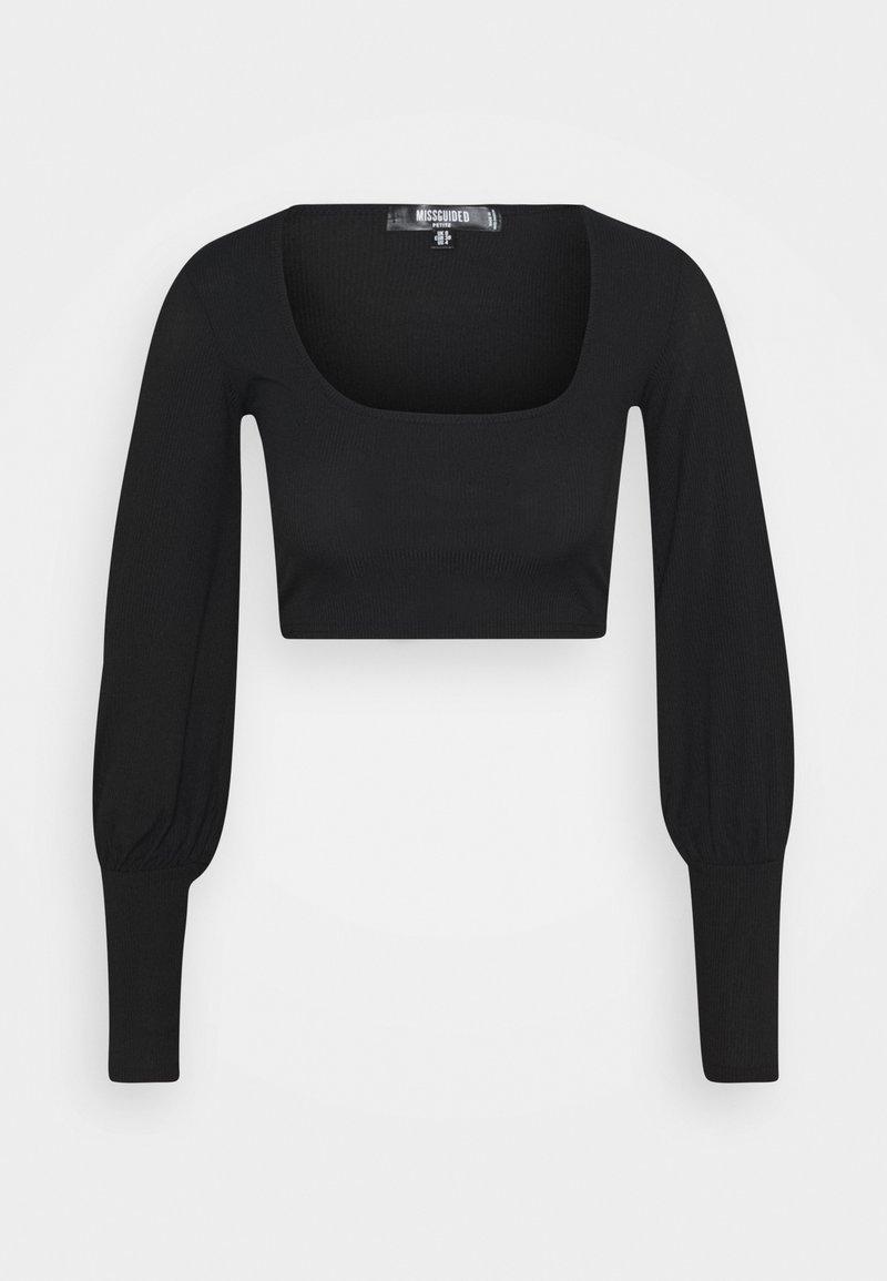 Missguided Petite - LONG SLEEVE CROP  - Long sleeved top - black