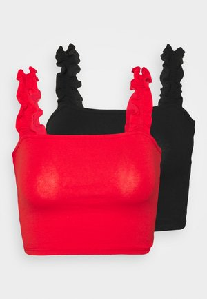 RUFFLE STRAP CROP 2 PACK - Top - black/red