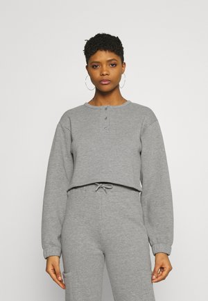 Button neck sweatshirt - Sweatshirt - mottled grey