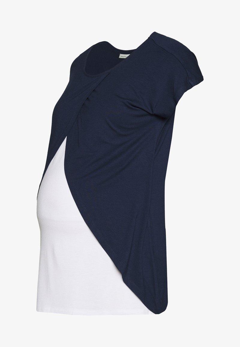 Anna Field MAMA - BASIC NURSING TOP - T-Shirt print - white/dark blue