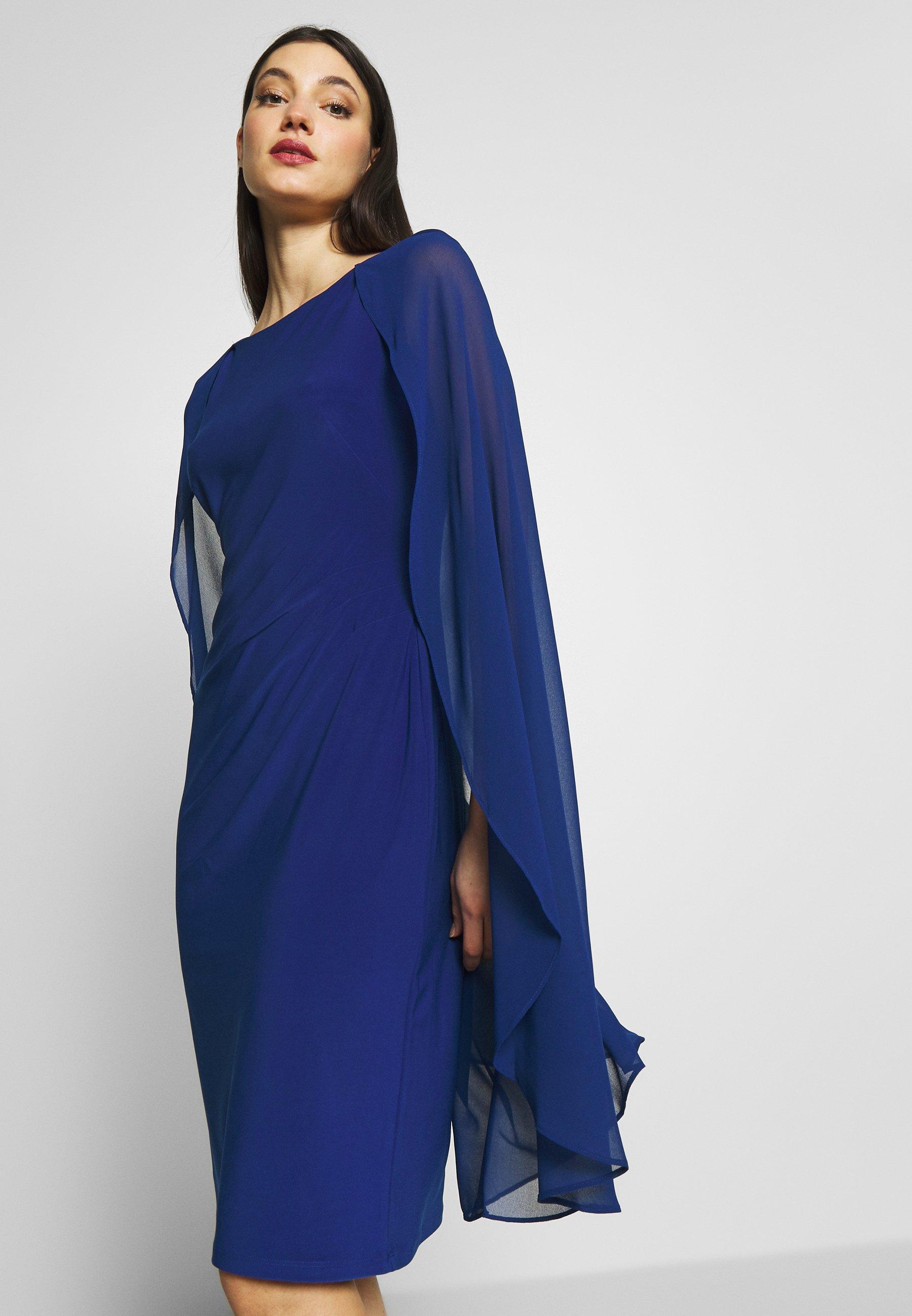 Lauren Ralph Lauren Classic Dress Combo Cocktailkleid Festliches Kleid Parisian Blue Blau Zalando De