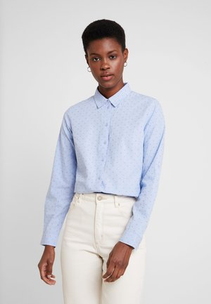BLOUSE DOBBY - Button-down blouse - blue