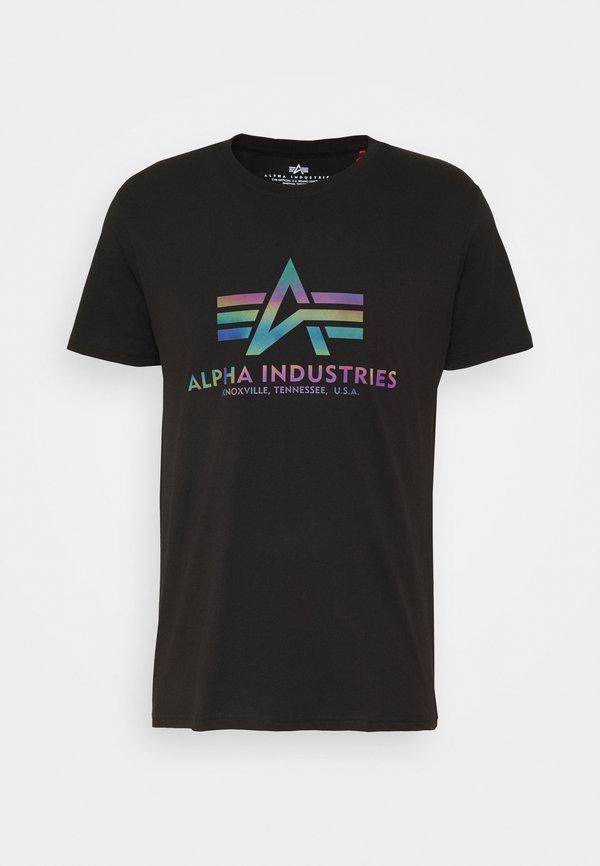 Alpha Industries RAINBOW - T-shirt z nadrukiem - black/czarny Odzież Męska LURB