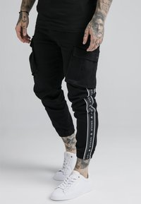 SIKSILK - FITTED TAPED CUFF CARGO - Pantaloni cargo - black - 0