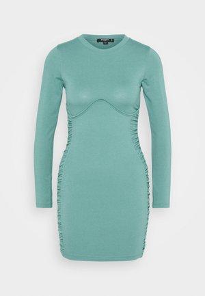 RUCHED SIDE MINI DRESS - Day dress - blue