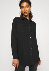 Vero Moda - VMMILA LONG - Button-down blouse - black - 4