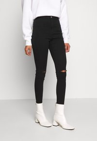 Missguided - VICE HIGHWAISTED SLASH KNEE - Jeans Skinny Fit - black - 0