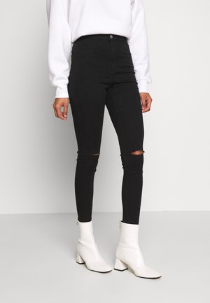 VICE HIGHWAISTED SLASH KNEE - Jeans Skinny - black
