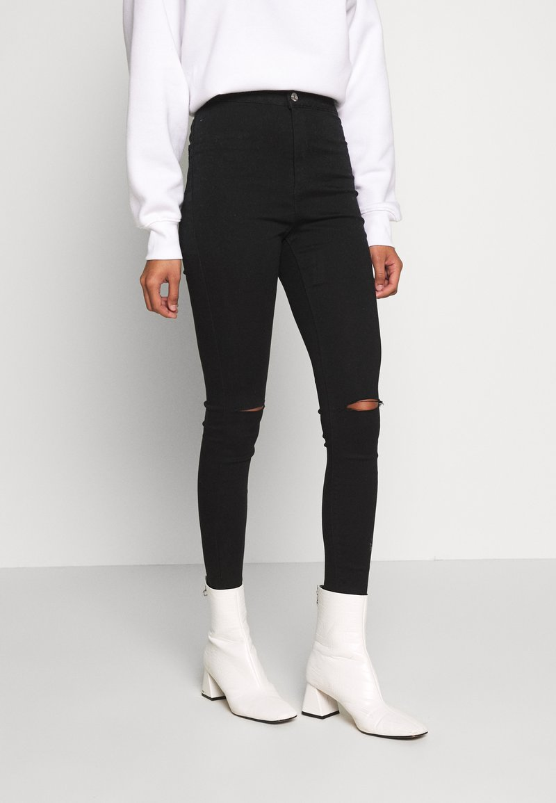 Missguided - VICE HIGHWAISTED SLASH KNEE - Jeans Skinny Fit - black