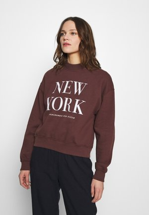 MOCK NECK LOGO CREW - Sweatshirt - burgundy