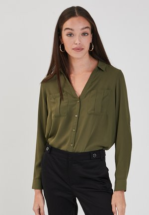 LONG SLEEVE - Button-down blouse - vert kaki