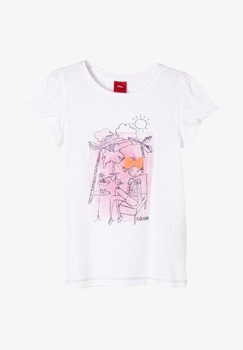 MIT TULPENÄRMELN - Print T-shirt - white