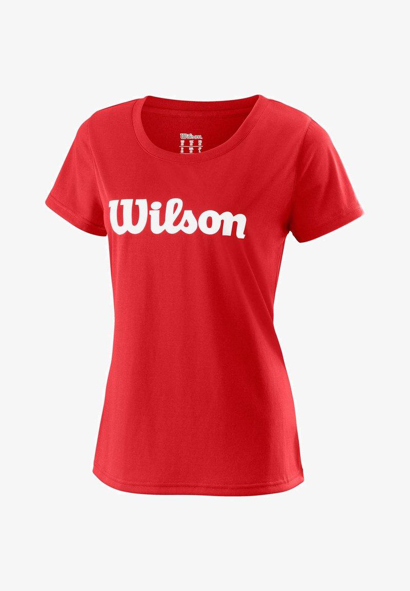 """Wilson - WILSON DAMEN TENNISSHIRT """"UWII SCRIPT TECH TEE"""" KURZARM - Print T-shirt - red"""