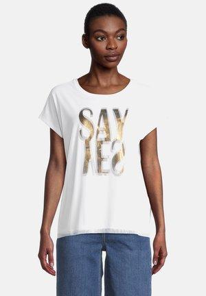 T-shirt print - white/khaki