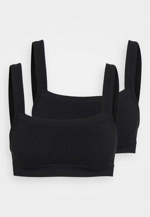 SEAMFREE CHUNKY STRAIGHT NECK CROP 2 PACK - Topp - black/black