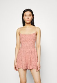 Abercrombie & Fitch - FRONT RUCHED ROMPER  - Mono - red dot - 0