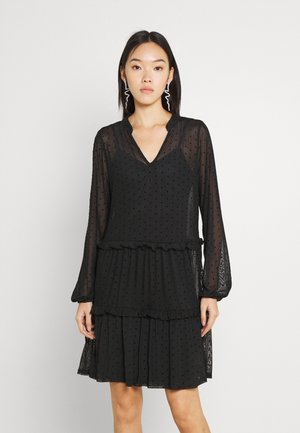 MESH VOLANT MINI DRESS - Paitamekko - black