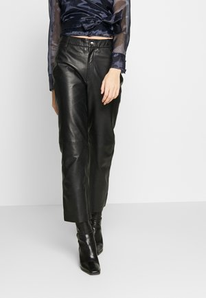 OBJTIFANNY PANTS  - Leather trousers - black