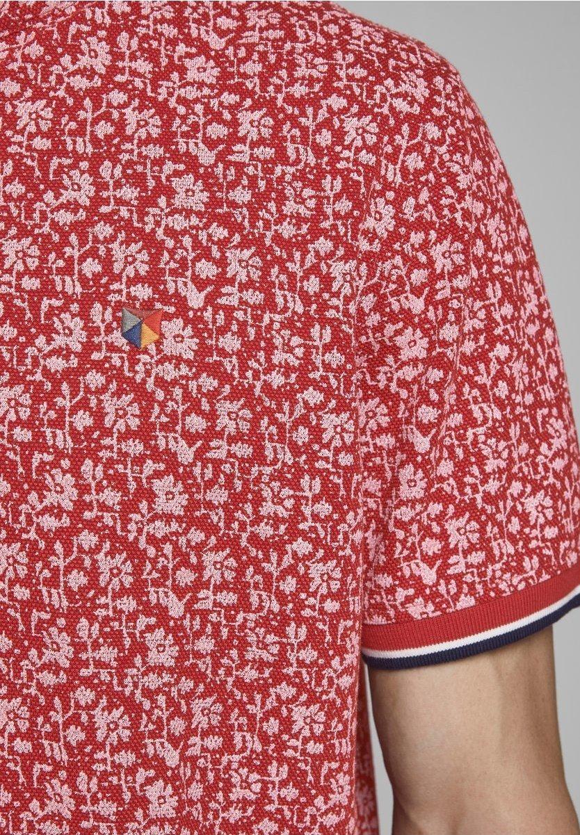 Jack & Jones PREMIUM MANDARINKRAGEN - Polo shirt - red dahlia sUnGO
