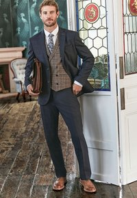 Next - REGULAR FIT CHECK SUIT - Pantaloni eleganti - blue - 0