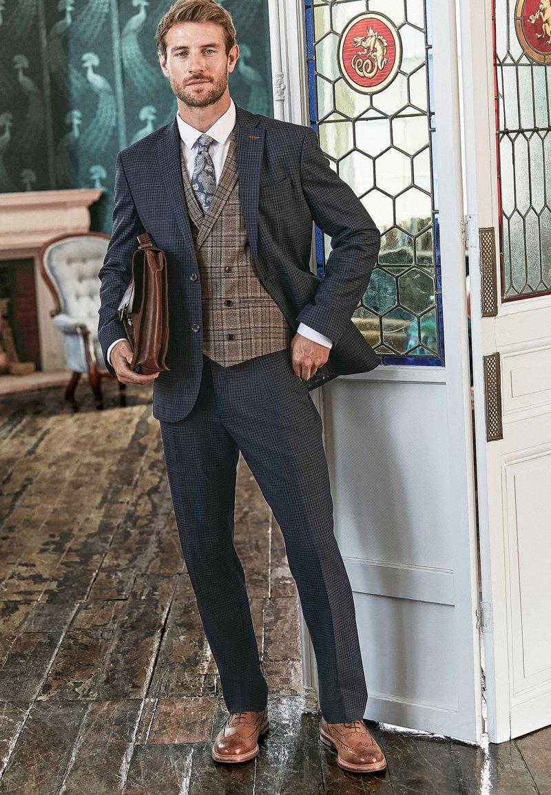 Next - REGULAR FIT CHECK SUIT - Pantaloni eleganti - blue